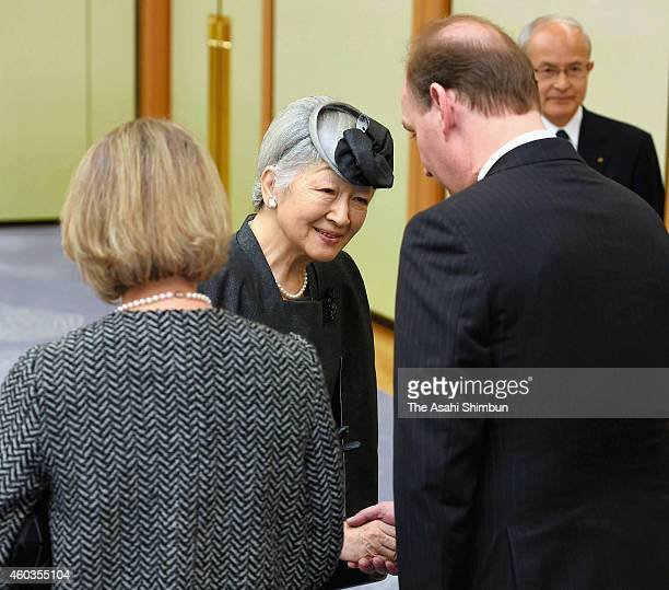 Empress Michiko is seen off on departure at Tokyo International Airport on December 11 2014 in Tokyo Japan The Empress will attend the funeral of...