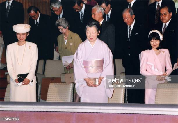 Empress Michiko Princess Sayako and Princess Kiko of Akishino attend a concert by music college graduates at the Imperial Palace on March 28 1997 in...