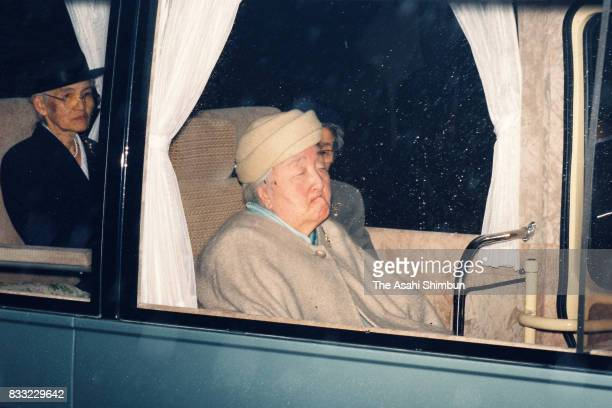 Empress Nagako is seen on departure for the Hayama Imperial Villa at the Imperial Palace on March 9 1994 in Tokyo Japan