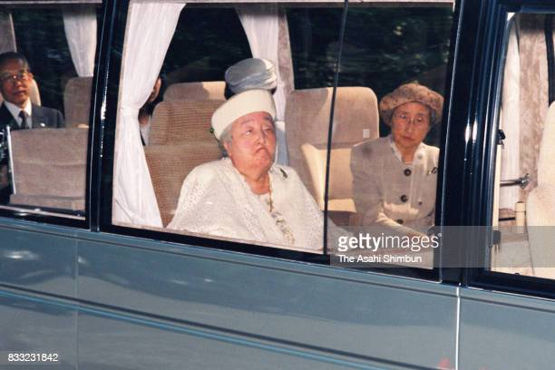 Empress Nagako is seen on departure for the Hayama Imperial Villa at the Imperial Palace on May 18 1994 in Tokyo Japan