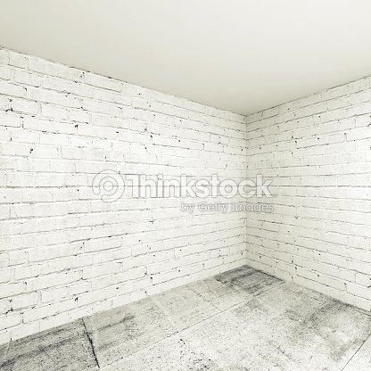 Empty 3d Room Interior Background Corner With White Brick Walls