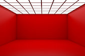 Empty 3d red room withceiling lights