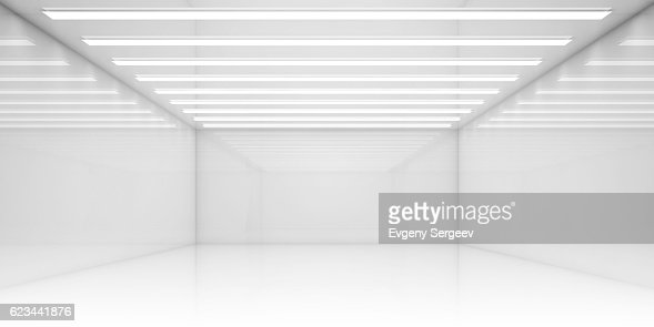 Empty 3d white room with stripes of ceiling lights : Stock Photo
