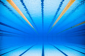 Empty 50m Olympic Outdoor Pool and Dividing lines from Underwater