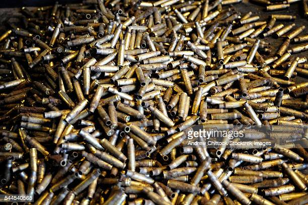 Empty 7.62mm brass casings.