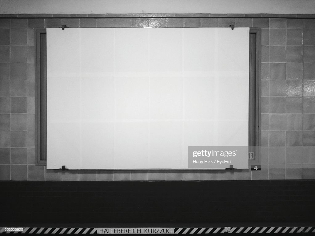 Empty Advertisement Board At Railroad Station
