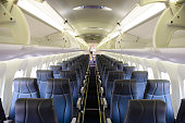 Empty commercial passenger aircraft cabin.