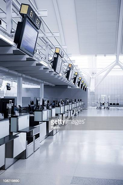 Empty airline checkout counter