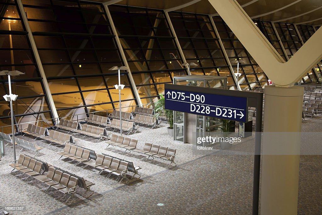 Empty Airport hub at night
