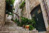 Empty alley and stairs at Dubrovnik's Old Town