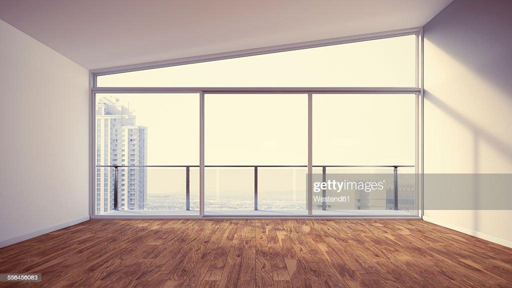 Empty apartment with wooden floor, 3d rendering