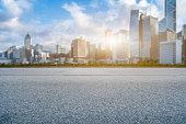 empty asphalt road and modern architecture,Hong Kong,China.