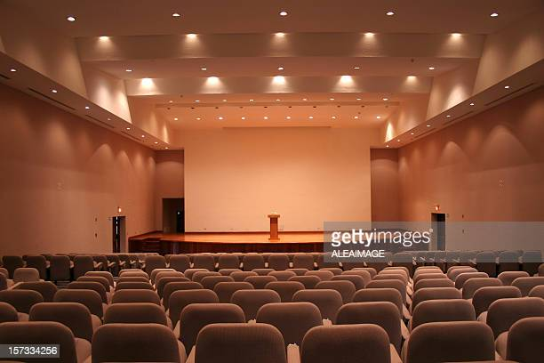 Empty auditorium with grey seats and downlights
