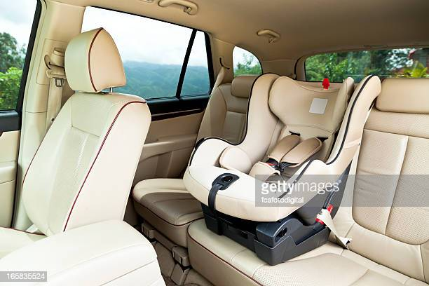 Empty baby car seat inside car