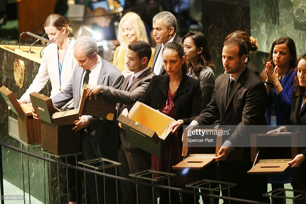 Empty ballot boxes are displayed for the 193 members of the United Nations General Assembly before voting in a secret ballot to fill five...