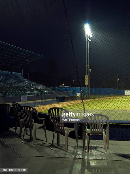 Empty baseball field at night