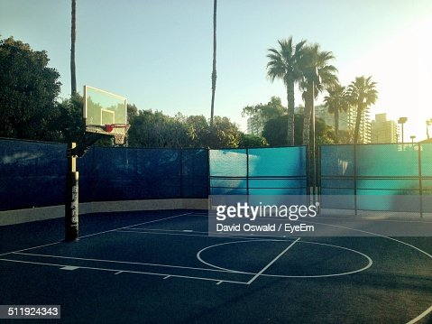 Empty basketball court stock photo getty images for How wide is a basketball court
