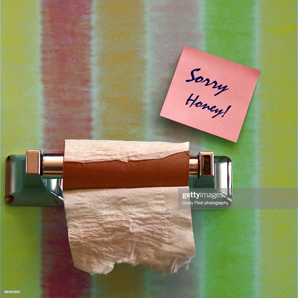 Empty Bathroom Toilet Paper Holder Note Stock Photo