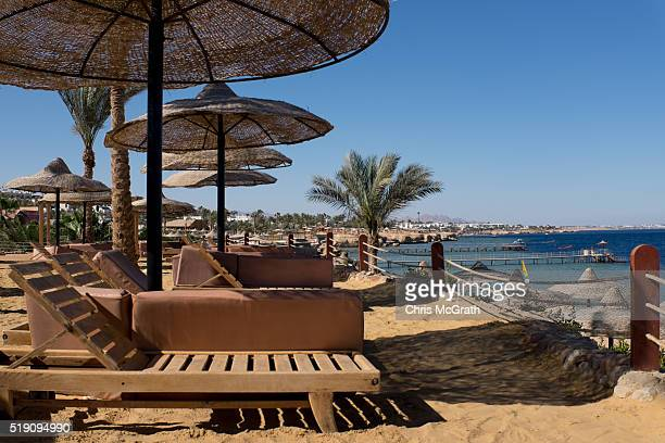 Empty beach chairs are seen at a resort on April 1 2016 in Sharm El Sheikh Egypt Prior to the Arab Spring in 2011 some 15million tourists would visit...