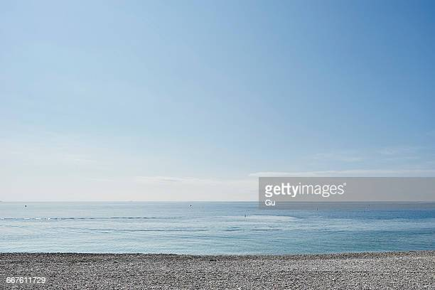 Empty beach, Nice, Cote dazur, France