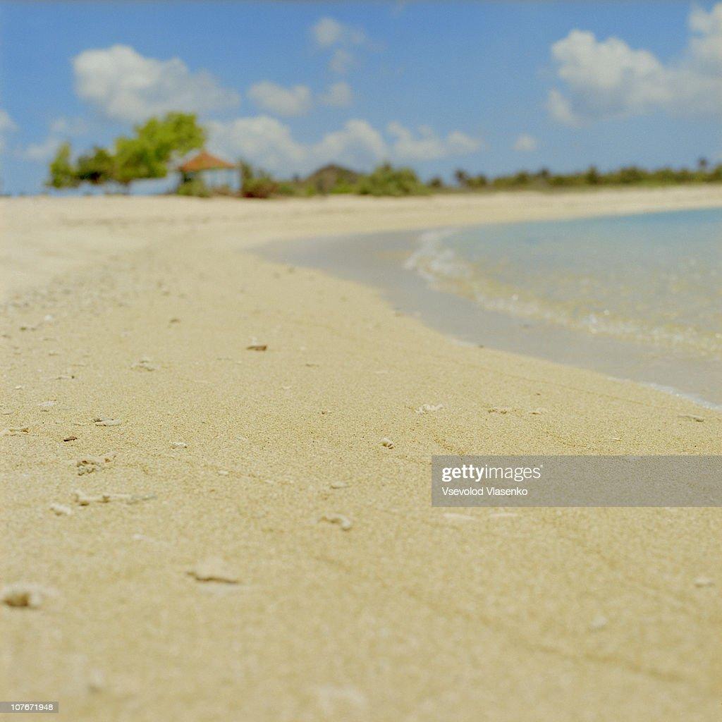 Empty beach of Kuta Lombok : Stock Photo