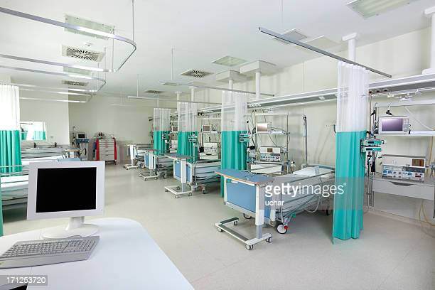 Empty beds in a hospital or surgical recovery room