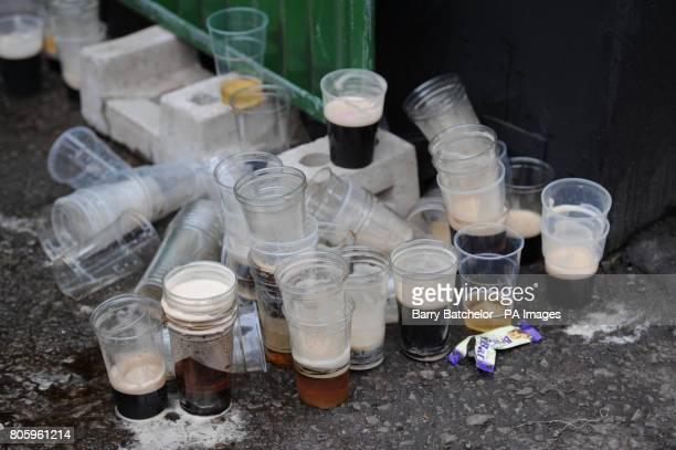 Empty beer glasses during day two of the 2010 Cheltenham Festival at Cheltenham Racecourse