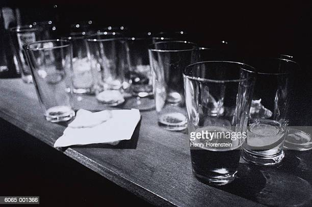 Empty Beer Glasses on Table