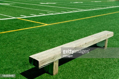 Empty Bench On A Football Field Stock Photo Getty Images