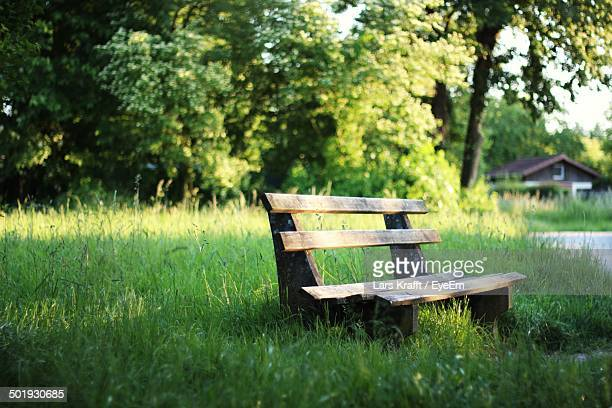 Empty bench on grassland against trees