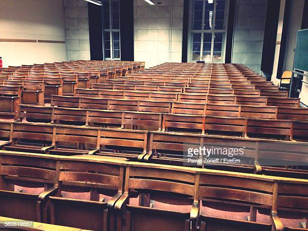 Empty Benches In Lecture Hall