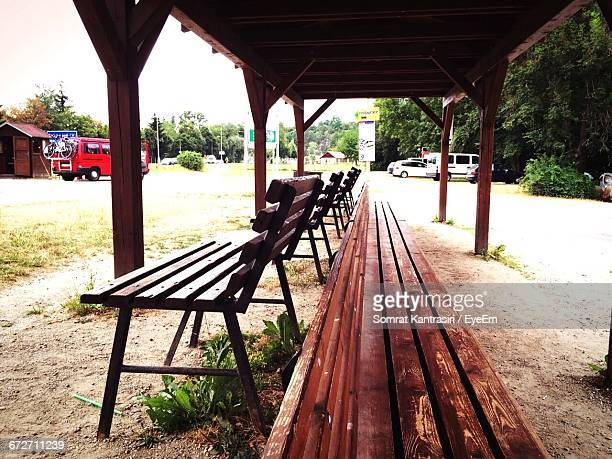 Empty Benches Under Shade