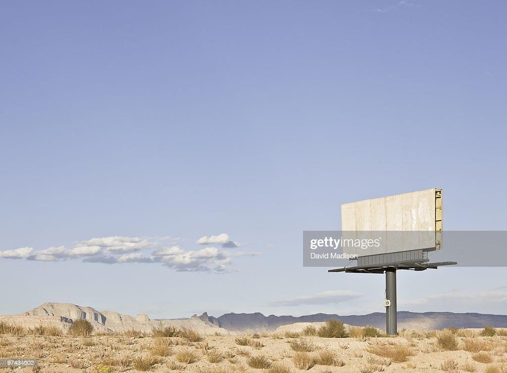Empty billboard in the desert. : Stock Photo
