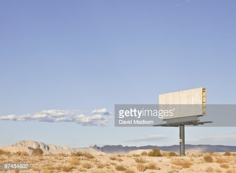 Empty billboard in the desert.