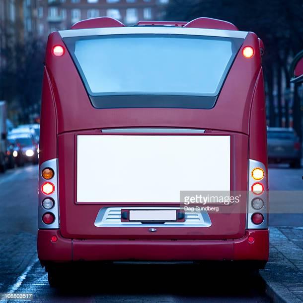 Empty billboard on bus rear