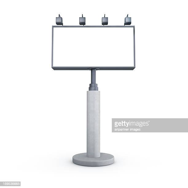 empty billboard with lighting on white