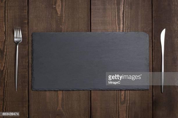 Empty Black Stone Tray Plate