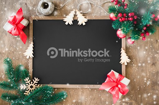 Empty blackboard with christmas decoration, red gift box, fir branches. : Stock Photo