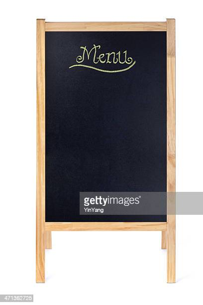 Empty Blank Menu Blackboard Easel Sign on White Background