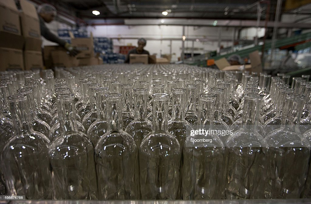 Empty bottles to be used for Jose Cuervo Tradicional tequila wait to be filled at the Tequila Cuervo La Rojena S.A. de C.V. bottling factory in Guadalajara, Mexico, on Thursday, Nov. 22 2012. There are more than 200 types of agave in Mexico, but use of the blue agave plant was made compulsory in the last century to the issuance of the Official Mexican Standard for Tequila production. Photographer: Susana Gonzalez/Bloomberg via Getty Images