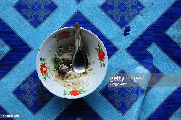 Empty bowl of food at the floating market in Bangk
