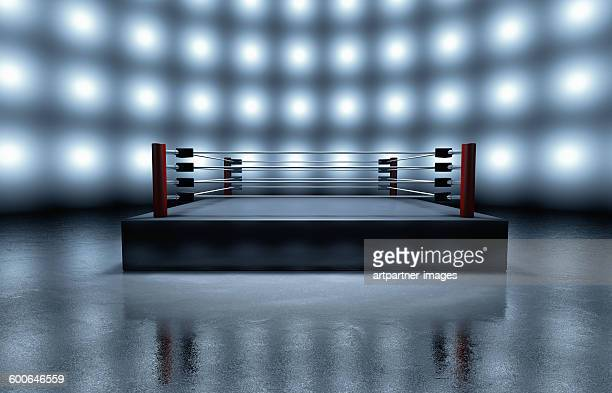 Empty boxing ring arena