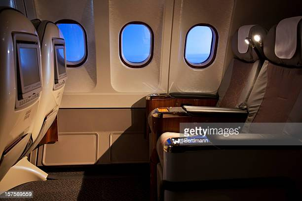 Empty business class seats in an airplane