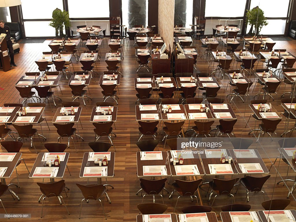 Empty cafeteria, elevated view : Stock Photo