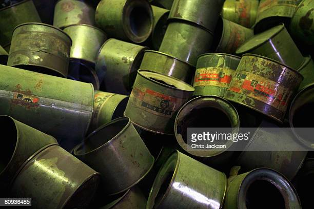 Empty canisters of the nerve gas Cyclone B lie piled up at the concentration camp of AushwitzBirkenau on April 30 2008 in Krakow Poland The hair was...