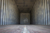 Empty cargo containers for export products or transportation. Copy space.