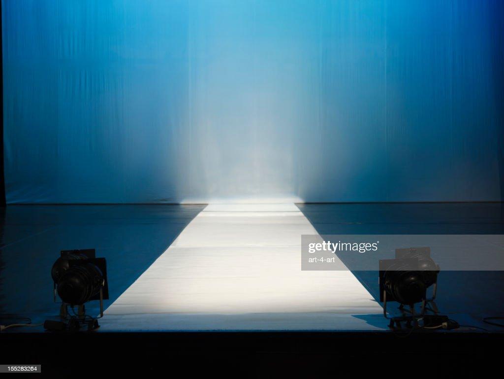 Empty catewalk stage lights : Stock Photo