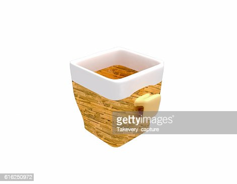 empty ceramic cup of coffee in wooden design : Foto de stock