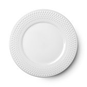 Empty ceramic round plate isolated on white background with clipping path. View from above.