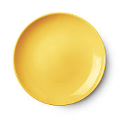 Empty ceramic round plate isolated on white background with clipping path
